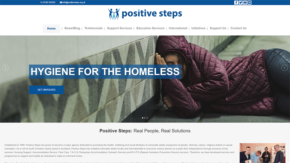 Charity website in Dundee with web design