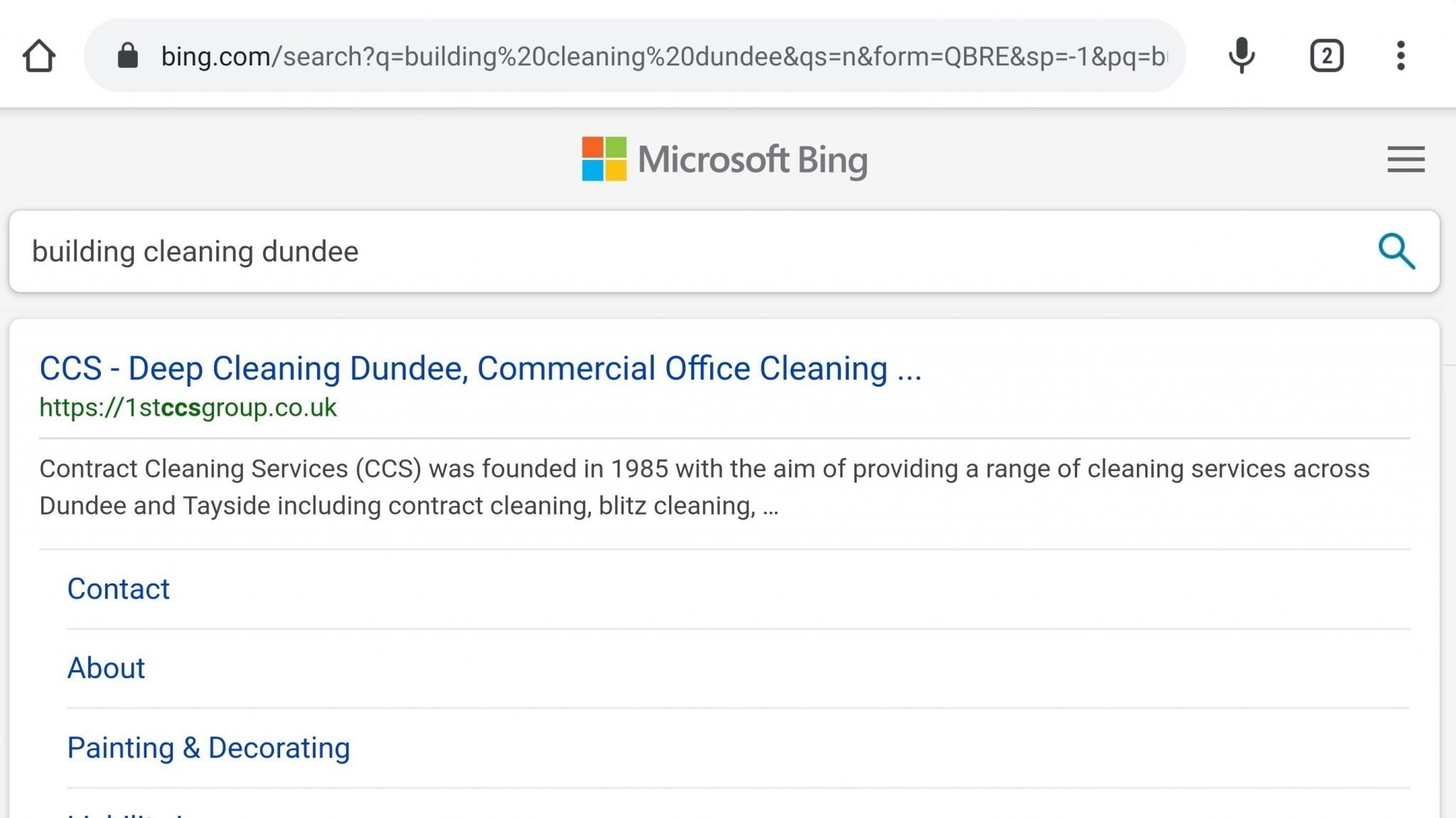 Bing Search engine SEO example for a company in Dundee