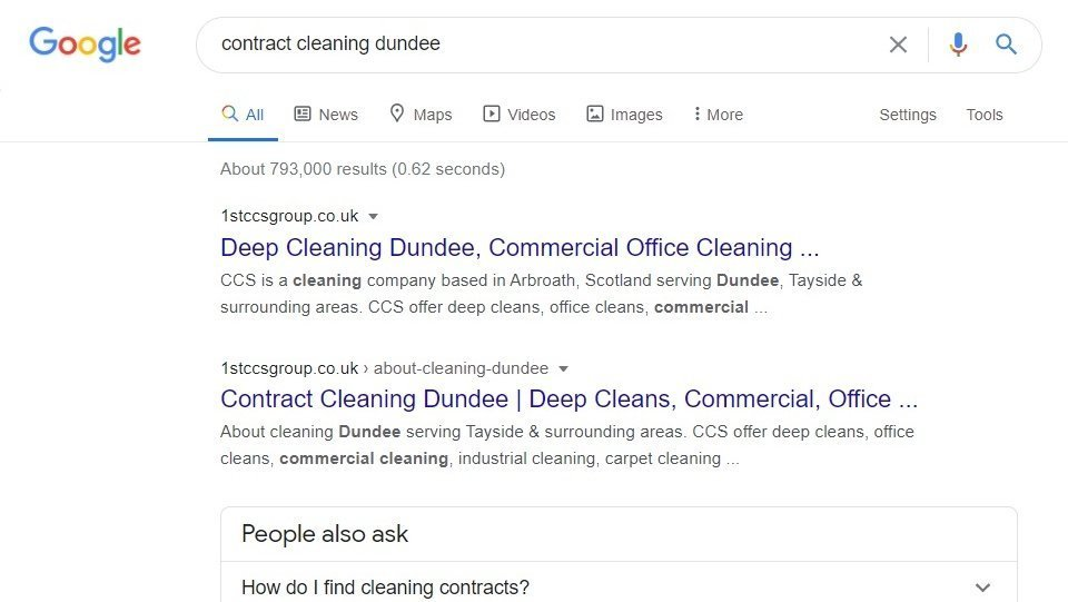 Google search results SEO example for a company in Dundee