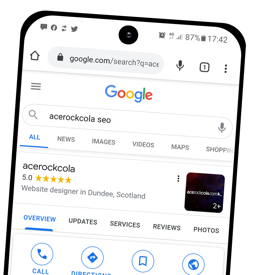 Search engine SEO example on a phone in Dundee