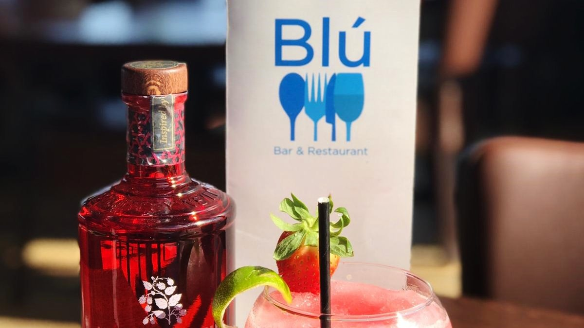 Blu Bar and Restaurant logo on menu in Dundee